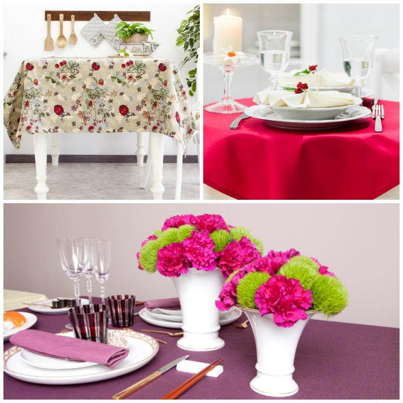 tovaglie servizio di piatti vasi con fiori
