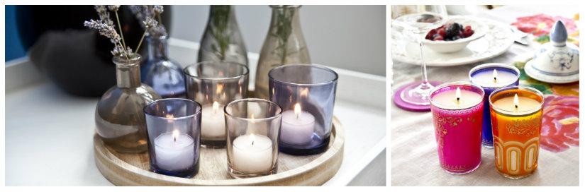 portacandele candele fiori vassoio tovaglia vaso