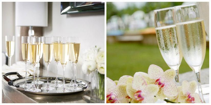 bicchieri da vino calici vassoio fiori