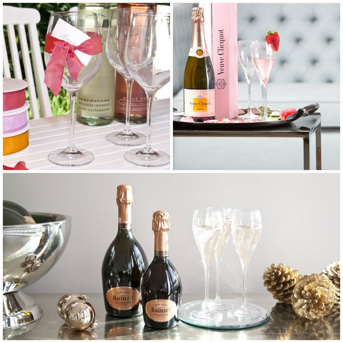 bicchieri da vino vassoio bottiglia tavolino secchiello