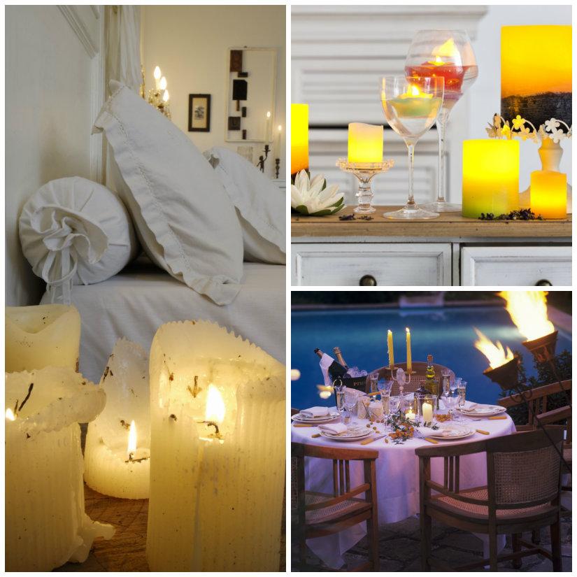 atmosfera romantica candele letto torcia tavolo