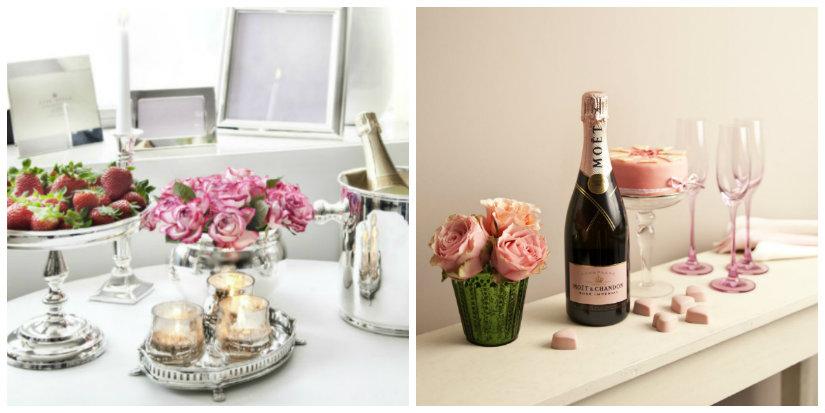 atmosfera romantica fragole candele vino calici