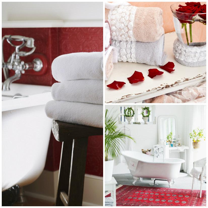 bagno romantico vasca asciugamani petali