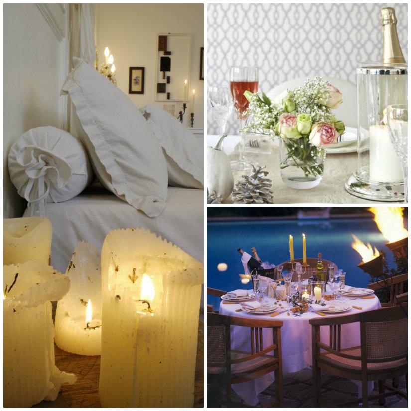 idee romantiche candela cena fiori vino