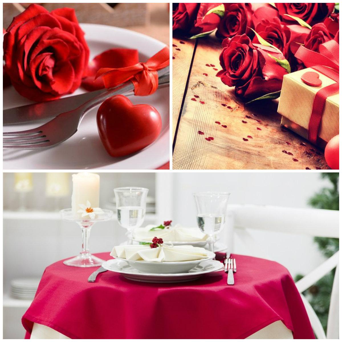 idee romantiche tavolo cuori posate bicchieri