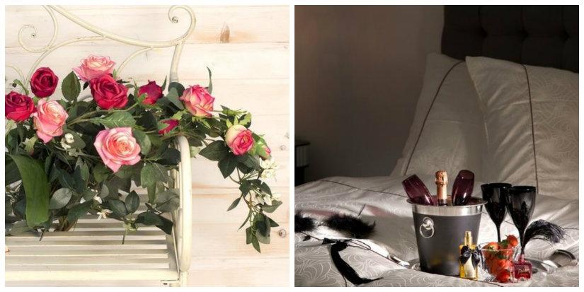 idee romantiche fiori vassoio calici letto