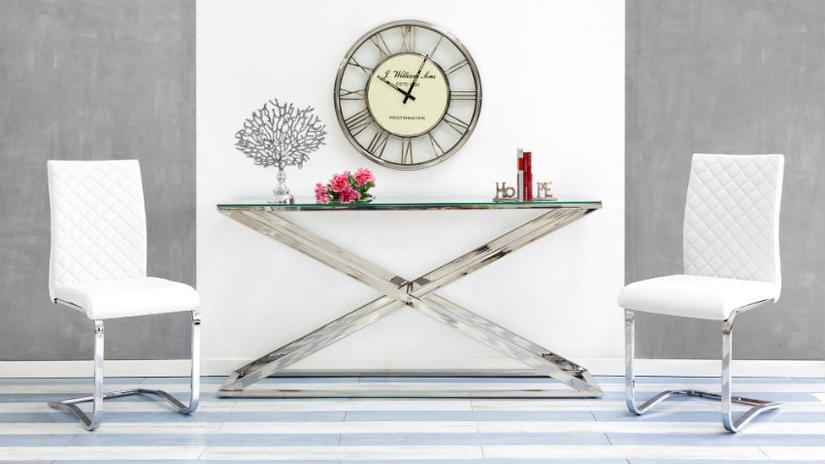 orologi da parete moderni tavolino acciaio e vetro