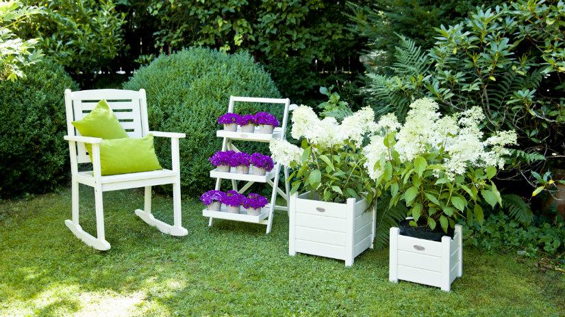 scaffale da giardino fiori vaso sedia