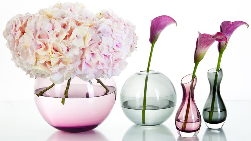 vaso in vetro fiori ortensia