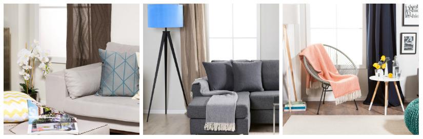 tende moderne lampada con paralume blu