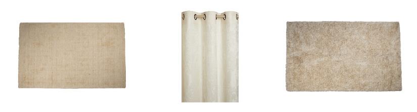arredare un monolocale con tende bianche e tappeti in colore chiaro