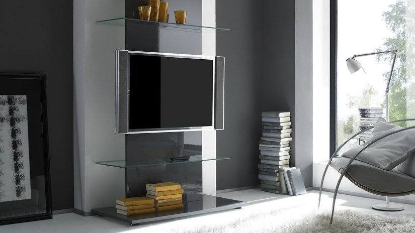 braccio porta TV trasparente