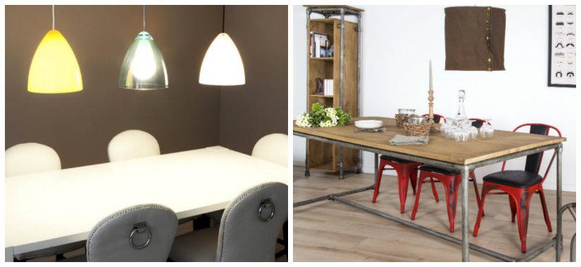 lampadari da cucina tavolo in legno sedie in acciaio