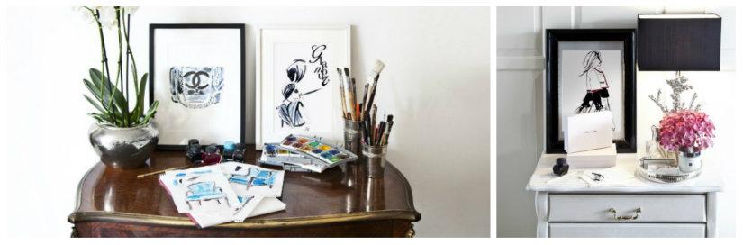 quadri astratti consolle in legno