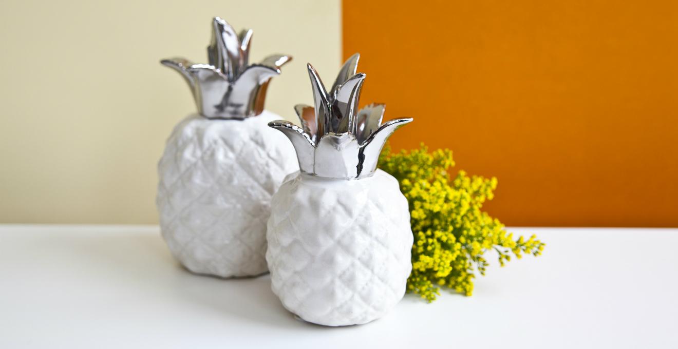 soprammobili moderni ananas fiori parete arancio