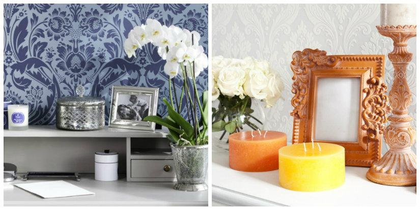 tessuti damascati carta da parati fiori candele foto scrittoio