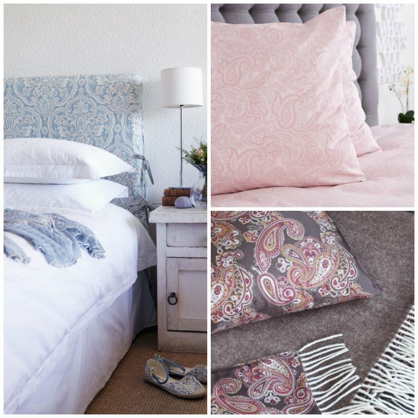 tessuti damascati testiera cuscini letto lenzuola