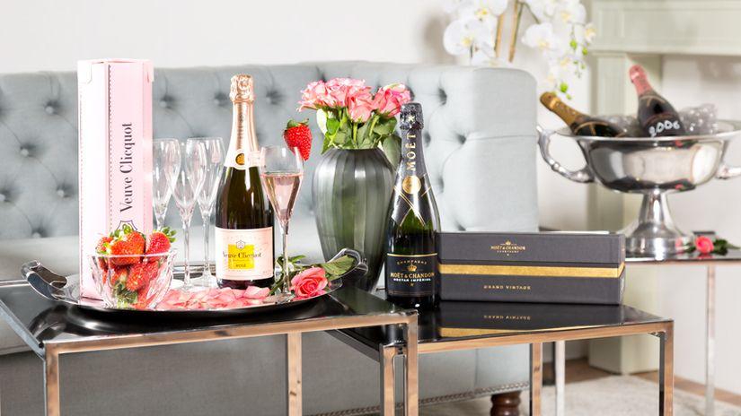 vassoio da portata champagne fiori vaso