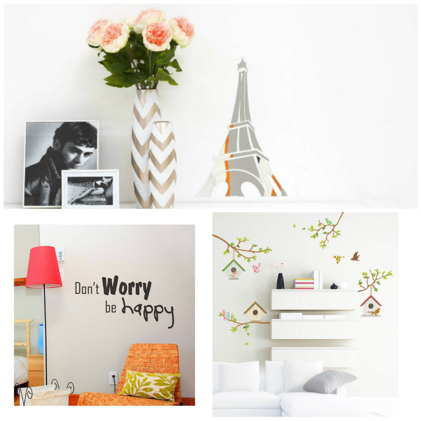 wall stickers lampada paralume rosso