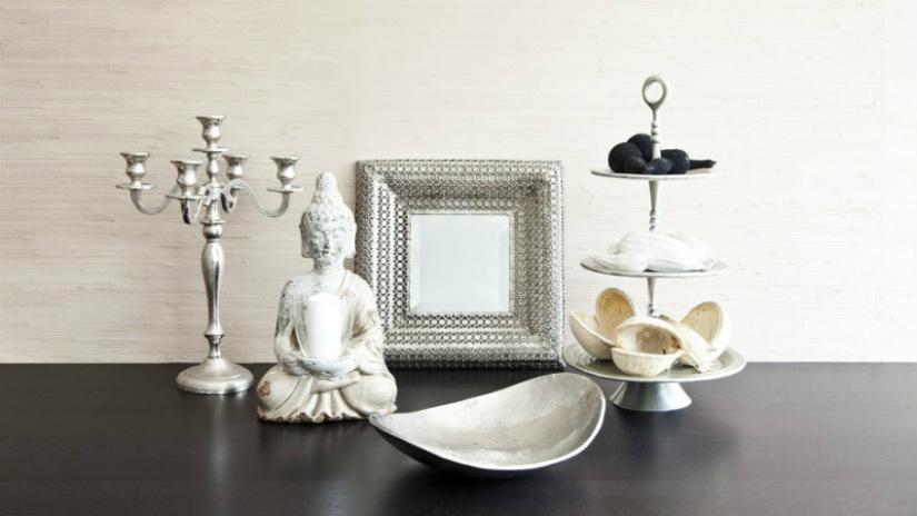 candelabro da terra in argento statua buddha specchio