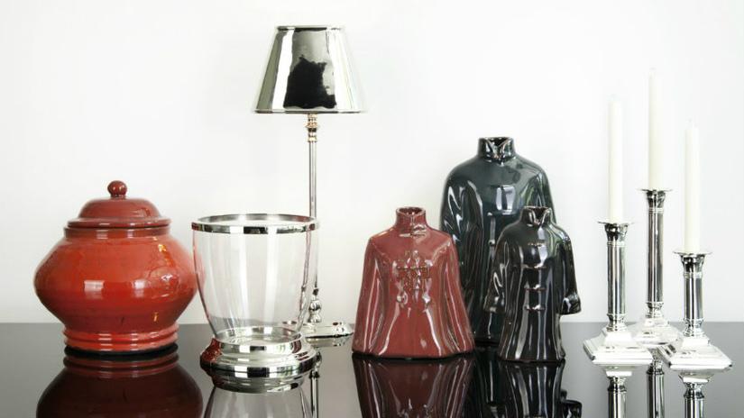 candeliere in argento lampada statuette