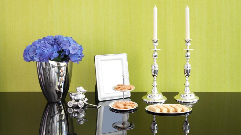 candeliere in argento cornice vassoio vaso