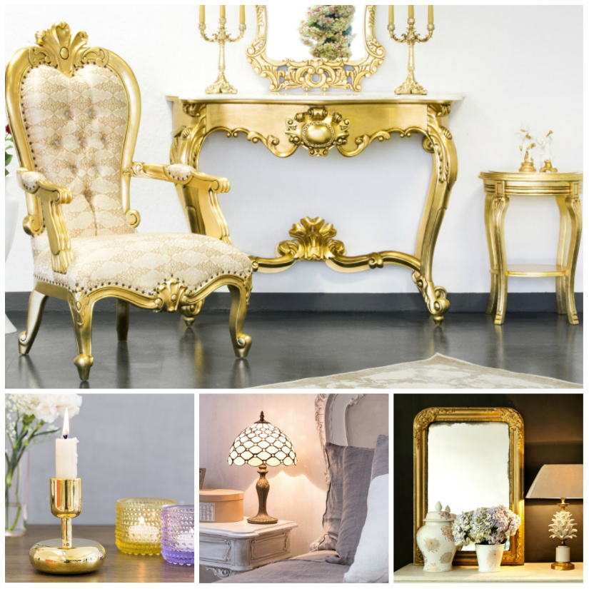 camera da letto in stile barocco consolle poltrona