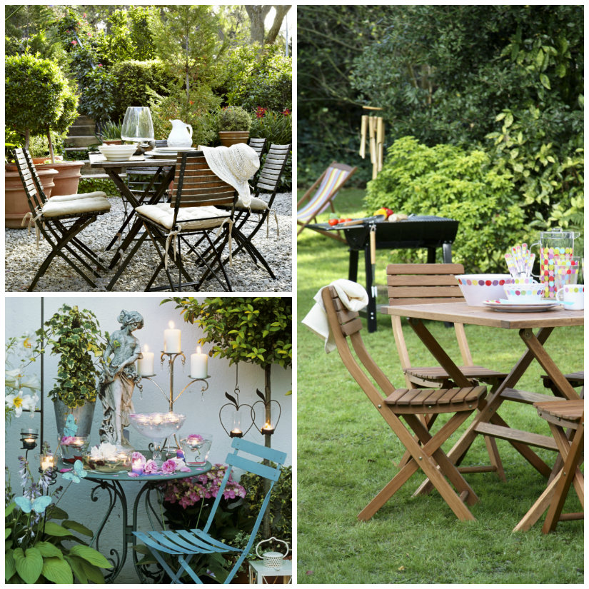 arredare il giardino tavolino sedie calici barbecue candele