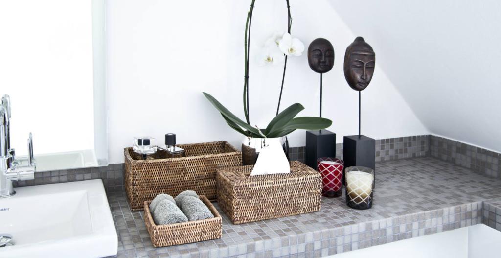 porta cotton fioc ceste vimini orchidea bagno asciugamani