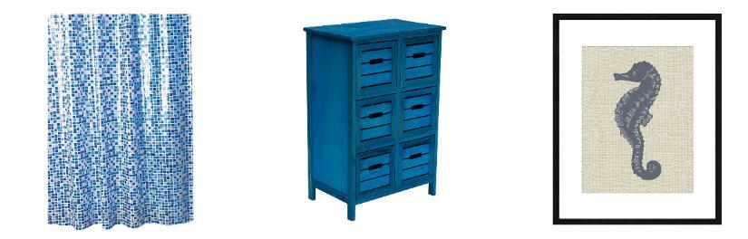 bagno blu quadro tenda cassettiera