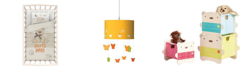 cameretta per neonati lettino lampada scatole