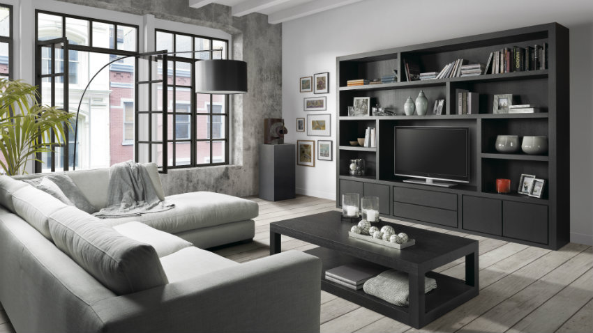 Pareti attrezzate soluzioni d 39 arredo dalani e ora westwing for Parete attrezzata con divano