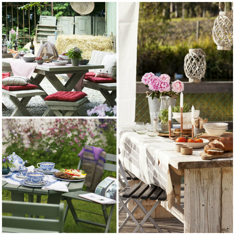 tavoli da giardino in legno piante