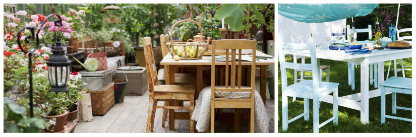 tavoli da giardino in legno colorato