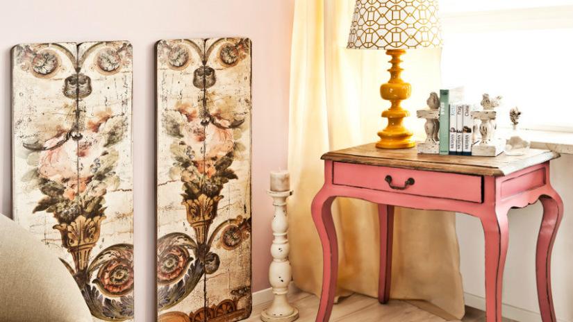 paralume tiffany consolle in legno rosa