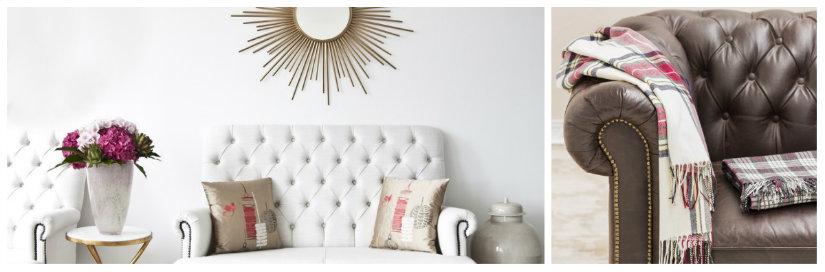 divano chesterfield tavolino cuscini