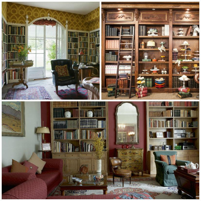 libreria antica libri zona living poltrona divano tavolo