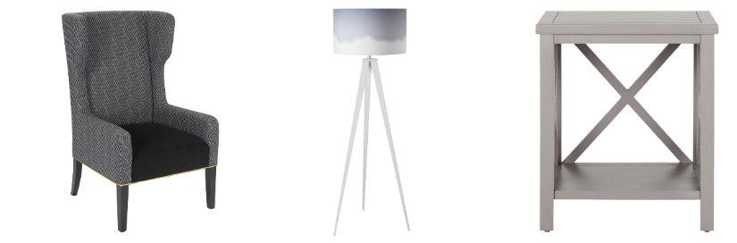 soggiorno grigio poltrona lampada tavolino