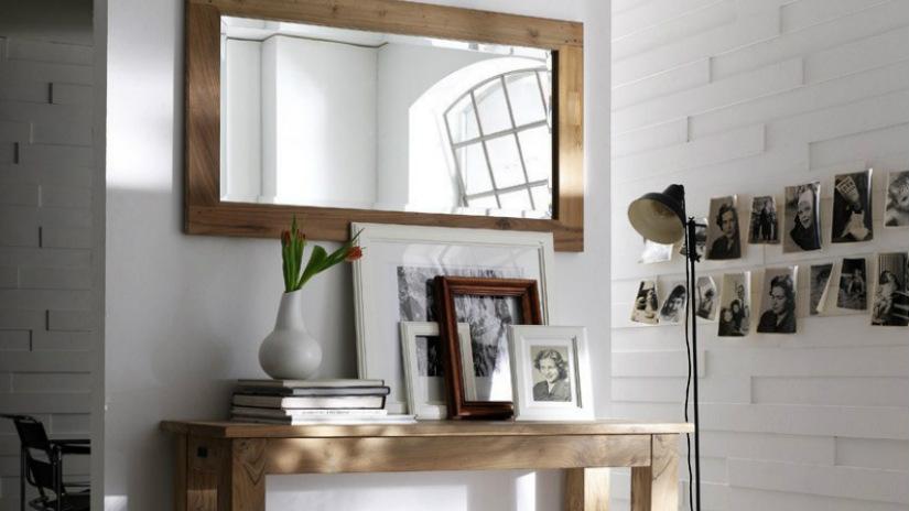 consolle rustica specchio lampada da terra