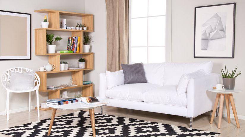 divani in stile scandinavo soggiorno tappeto tavolino libreria