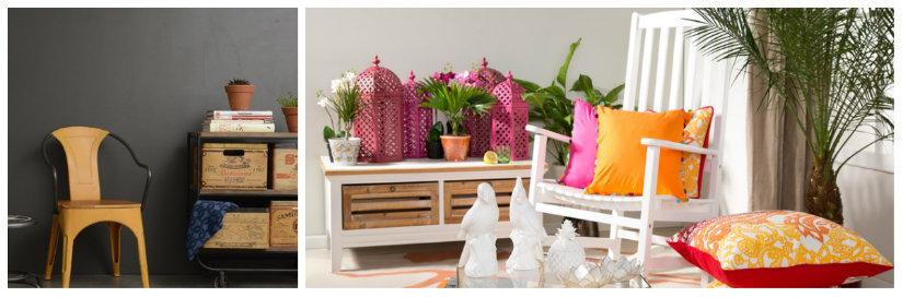 sedie in legno con braccioli cuscini colorati
