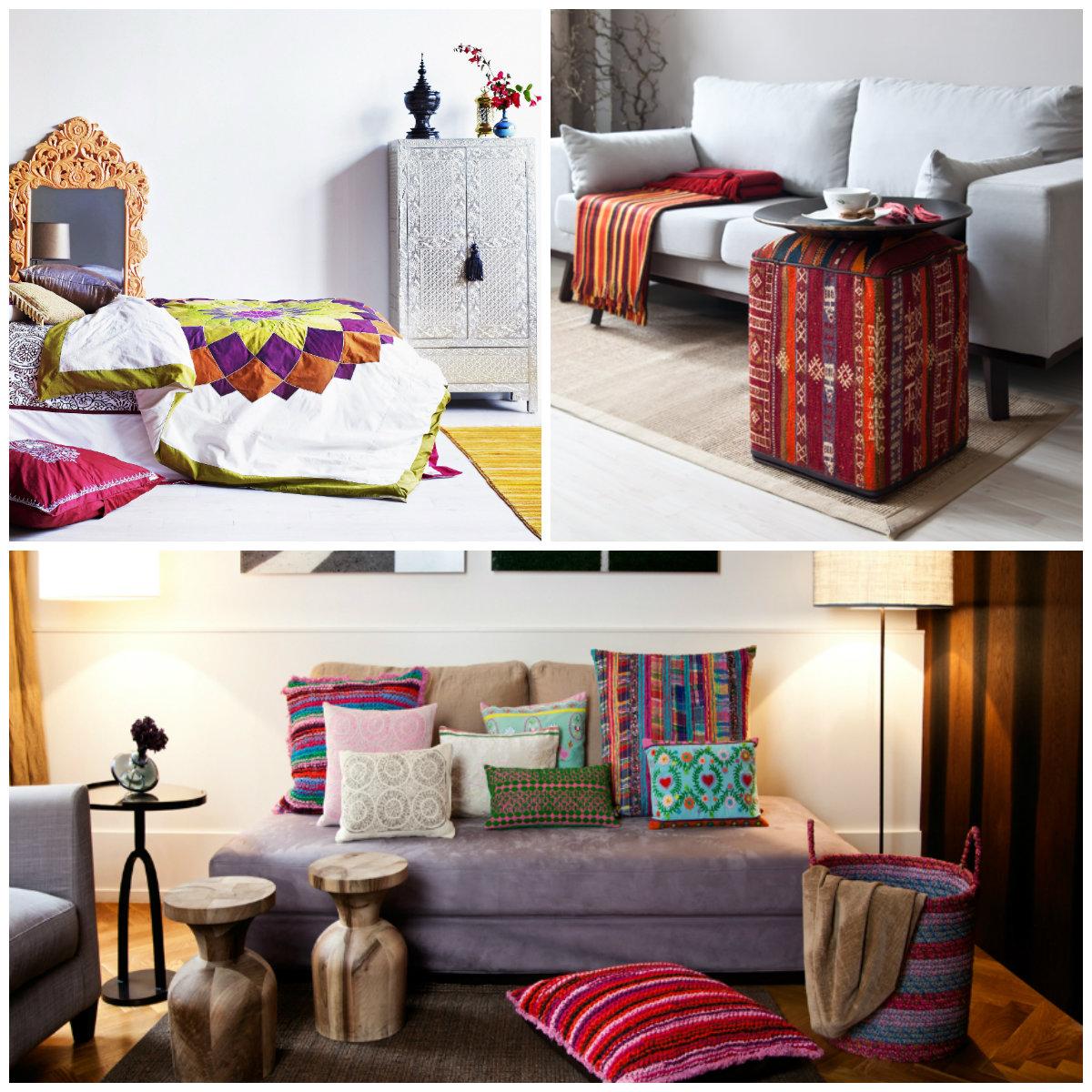 casa etnica divano letto tavolino cuscini armadio