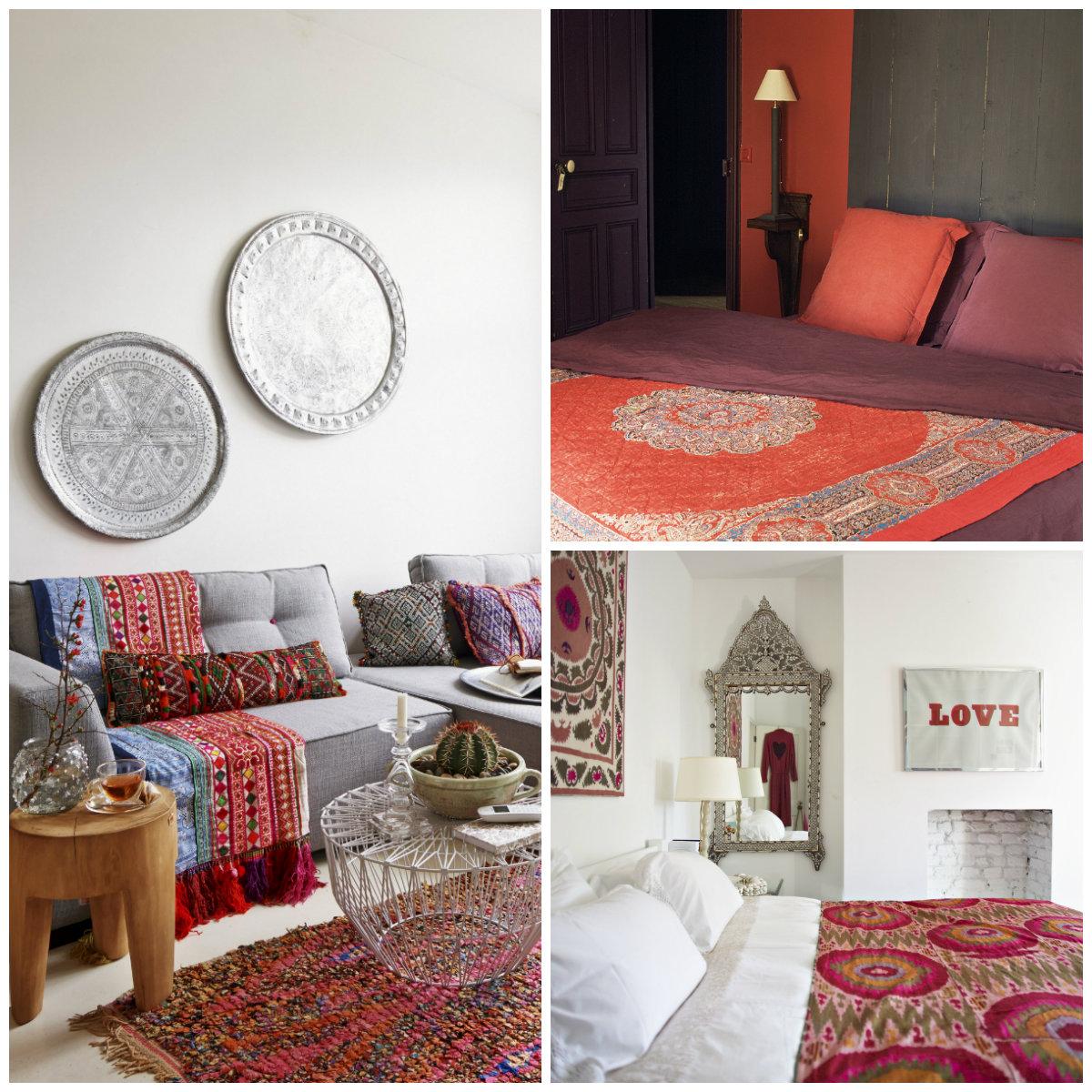 casa etnica divano letto cuscini tappeto quadri