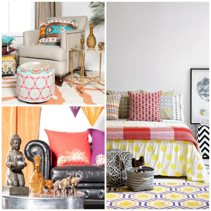 casa etnica pouf tappeto letto lenzuola cuscini statuine