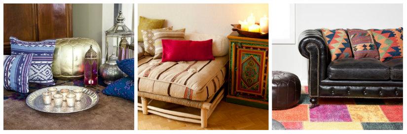 casa etnica divano cuscini lanterne tappeto divano