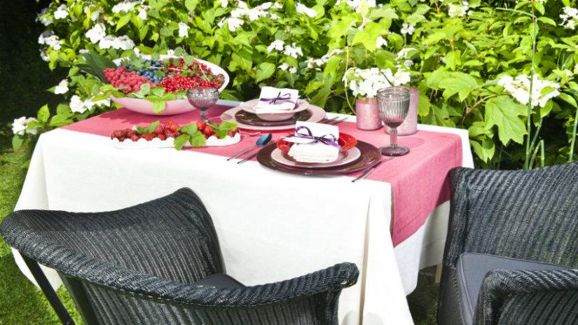 giardino piccolo tavolo sedie tovaglia rampicanti