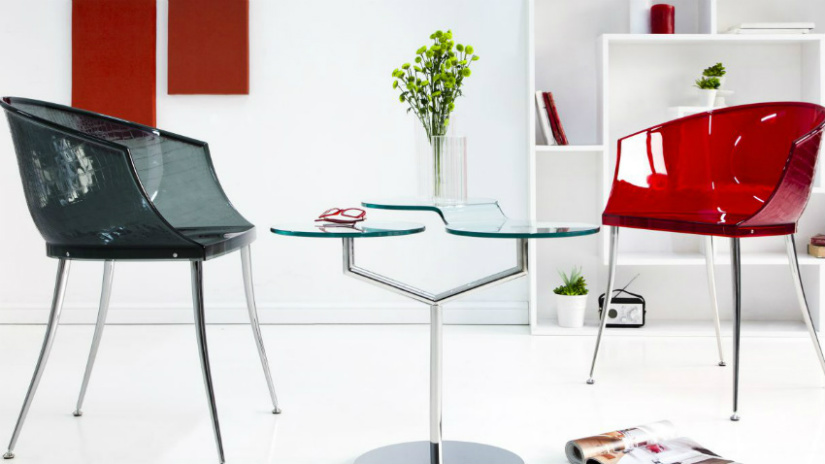mobili per ingresso in plexiglass sedie tavolino