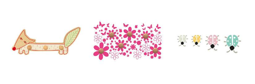 pomelli appendiabiti giocosi animaletti volpe fiori