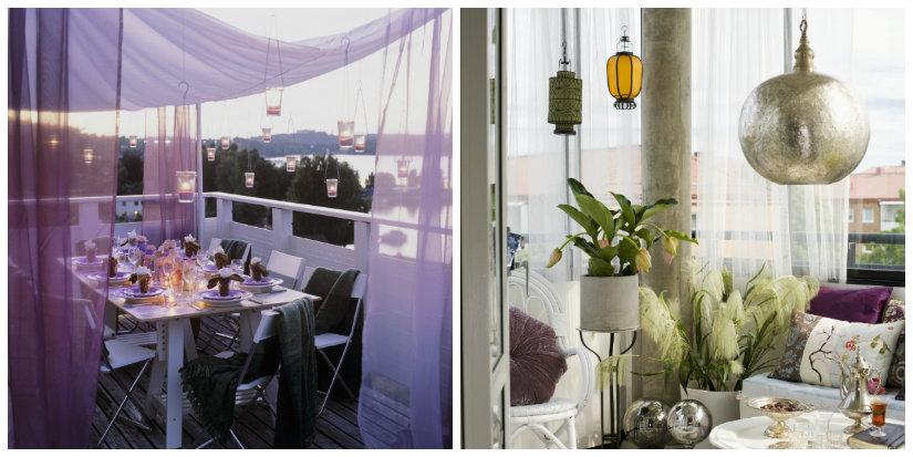 terrazzo di design lampade illuminazione lanterne fiori piante tavolo sedie