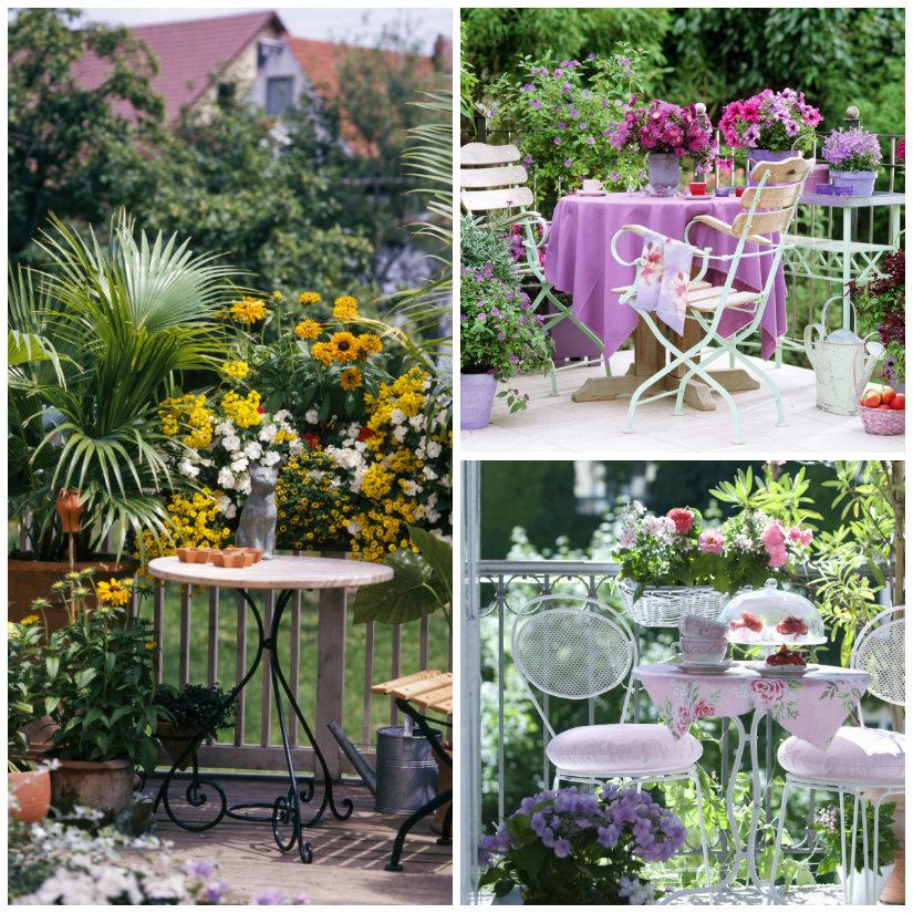 terrazzo di design tavolino sedie fiori piante balcone